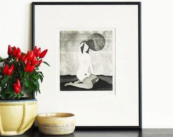 Original Etching Print Erotic SHY GIRL Geisha Aquatint Printmaking Nude Asian Poetic Fine Art Engraving Print Limited Edition 10x10