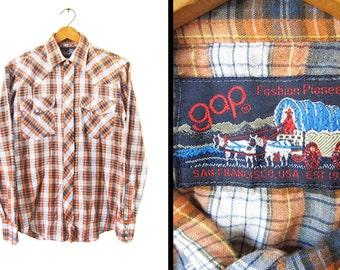 Vintage 70s Gap Pioneer Shirt Thin Pearl Snaps Western Metallic Thread - Men's Small