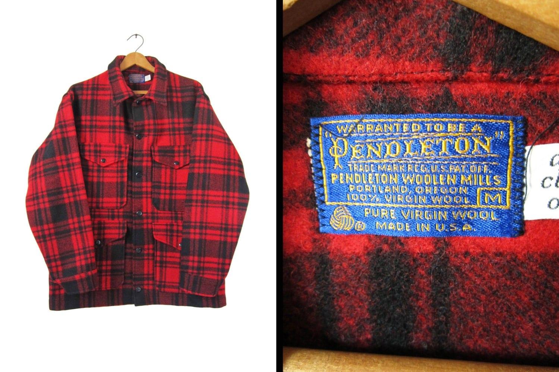 7db12a418bf0c ... Plaid Hunting · Wool Hunting Jacket: Vintage Pendleton Mackinaw Cruiser  Jacket Wool Hunting Coat