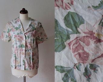 Vintage Blouse - 1980's Floral Rose Print Blouse  - Size S