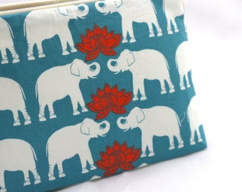 Makeup Bag in Elephant and Lotus in Teal and Red Organic Cotton Print - Good Luck Gift, Elephant Wedding, Valentine's Day, Mother's Day
