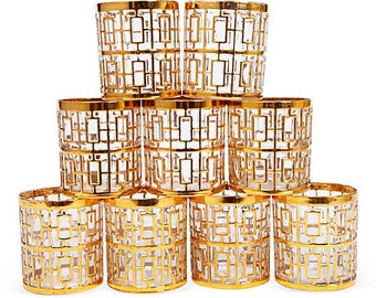Some wear. Set of 6 Shoji Glasses by the Imperial Glass Company of Ohio. Rock Glasses. 24 KT Gold Tumblers. Vasos de Oro