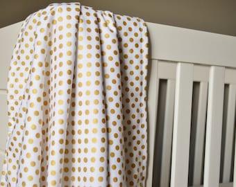 Crib Blanket Metallic Gold Dot - Crib Blanket - Baby Blanket - Minky Blanket - Metallic Gold Baby Blanket - Metallic Gold Crib Bedding
