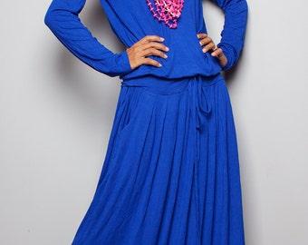 Blue Maxi Dress - Royal Blue Long Sleeve Dress : Autumn Thrills Collection No.1 (Best Seller)