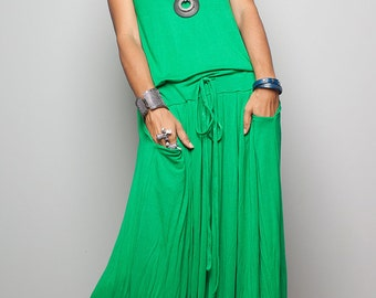 Green Maxi Dress -  Sleeveless dress : Autumn Thrills Collection No.9s   (New Arrival)