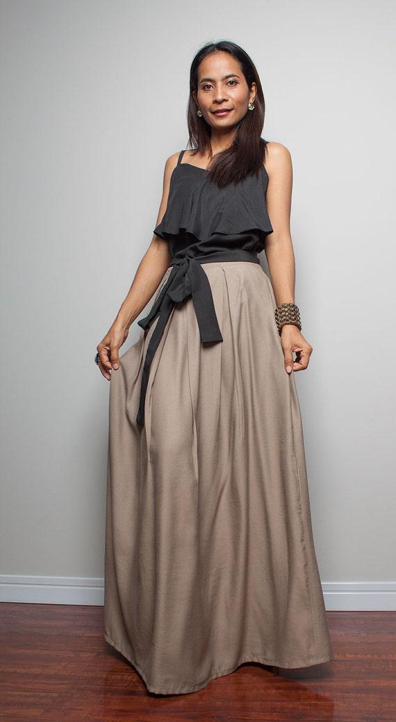 floor length skirt light brown maxi skirt feel