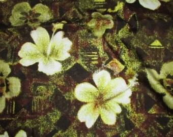 Vintage Hawaiian  Textiles # 6854  Brown and Yellow Floral Print Cotton Fabric, Vintage Textile, Hawaiian Print, Vintage Cotton Fabric