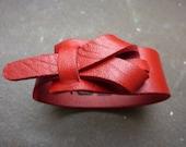 leather cuff in red, bracelet,women's cuff, loop cuff, muse