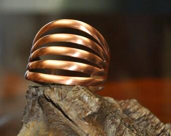 Charming copper bracelet, unique 5 shank copper bracelet