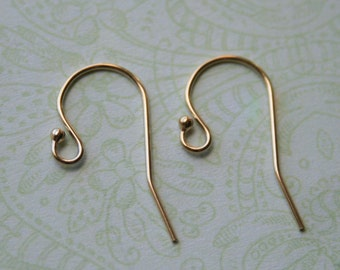 Five Pairs - 14K Gold Filled French Hook Earwires Earrings, Ball End French Hook, 12x18mm