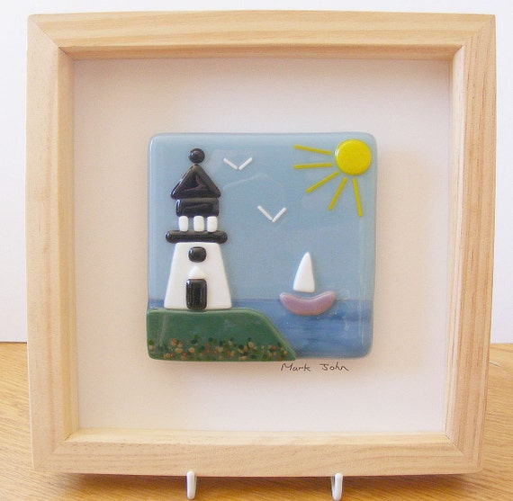 fused glass wall framed picture lighthouse
