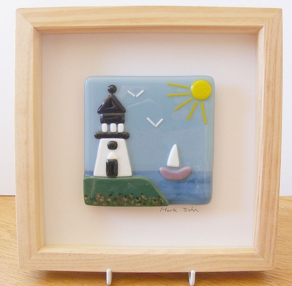 Wall Art Fused Glass : Fused glass wall art framed picture lighthouse