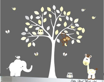 Jungle decal childrens white tree owl nursery decal set