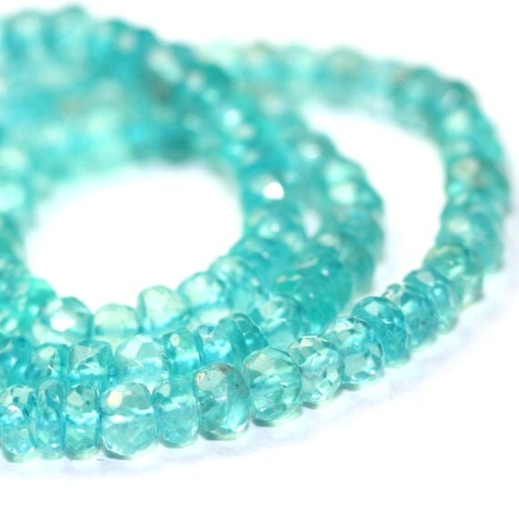 Apatite Micro Faceted Rondelles 15 Caribbean Blue Light Aqua Blue Semi Precious Gemstone