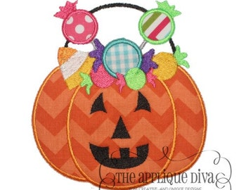 Halloween Pumpkin with Candy Digital Embroidery Design Machine Applique