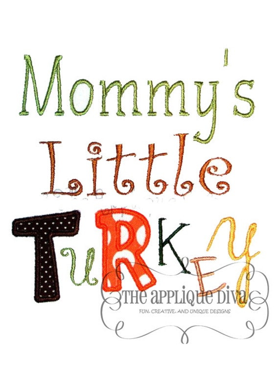 Thanksgiving Mommys Little Turkey Digital Embroidery Design Machine Applique