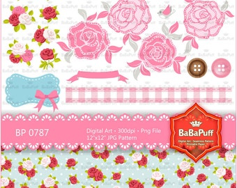 Rose and Digital Papers Clip Art, Personal and Small Commercial Use. BP 0787