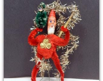 Vintage Christmas Chenille Santa Tinsel Ornament