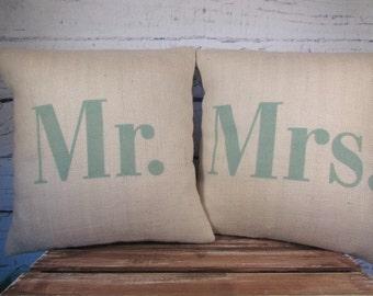 Mr Mrs off white burlap pillows  -  seafoam green lettering
