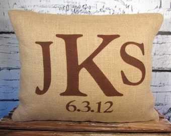 Monogram burlap pillow - initials - date -personalized pillow