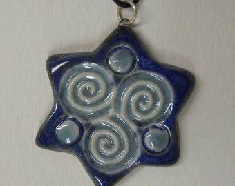Celtic Spiral, Irish, Six Sided Star Ceramic Pendant - Robins Egg Blue, Baby Blue, Dark Blue