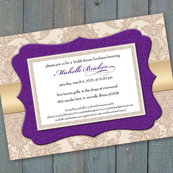 bridal shower invitations, champagne and purple bridal shower invitations, hyacinth and gold bridal shower luncheon, IN219