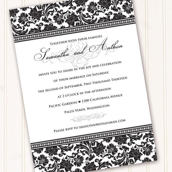 wedding invitations, formal wedding invitations, wedding invitation and rsvp, bridal shower invitations, black tie event, IN210