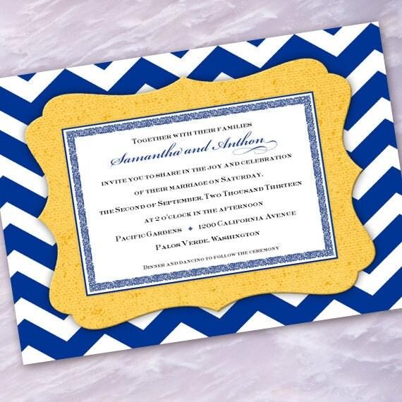 Cheap Blue Wedding Invitations: Wedding Invitations Chevron Wedding Invitations Cobalt