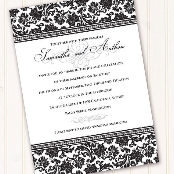 wedding invitation wording bridal shower invitations black and