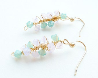 Pastel Opal Earrings Blue Pink