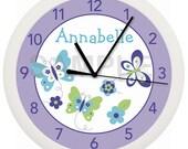 Purple or Pink Spring Butterfly Flower Personalized Nursery Wall Clock NOJO