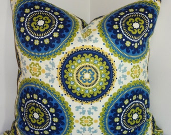 OUTDOOR Pillow Royal Blue Green Medallion Suzani Print Cushion Cover Porch Decorative Pillow Choose size