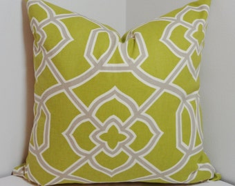 Chartreuse Lime Grey Geometric Pillow Cover Decorative Throw Pillow 18x18