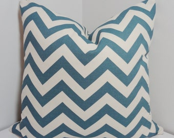 Decorative Pillow Cover Denim Blue Ivory Zig zag Chevron Pillow Covers All Sizes