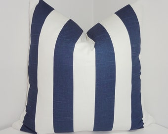 Navy Blue & White Stripe Pillow Covers Navy White Pillow Cover All Sizes