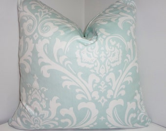 Pale Blue Damask Pillow Cover Decorative Throw Pillow Powder Blue Damask All Sizes