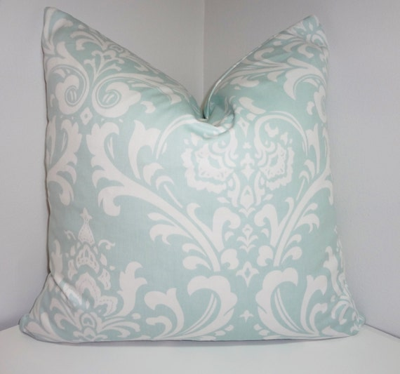 Items similar to Pale Blue Damask Pillow Cover Decorative Throw Pillow Powder Blue Damask All ...