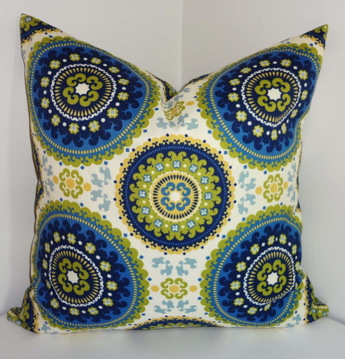 OUTDOOR Pillow Royal Blue Green Medallion Suzani Print Cushion