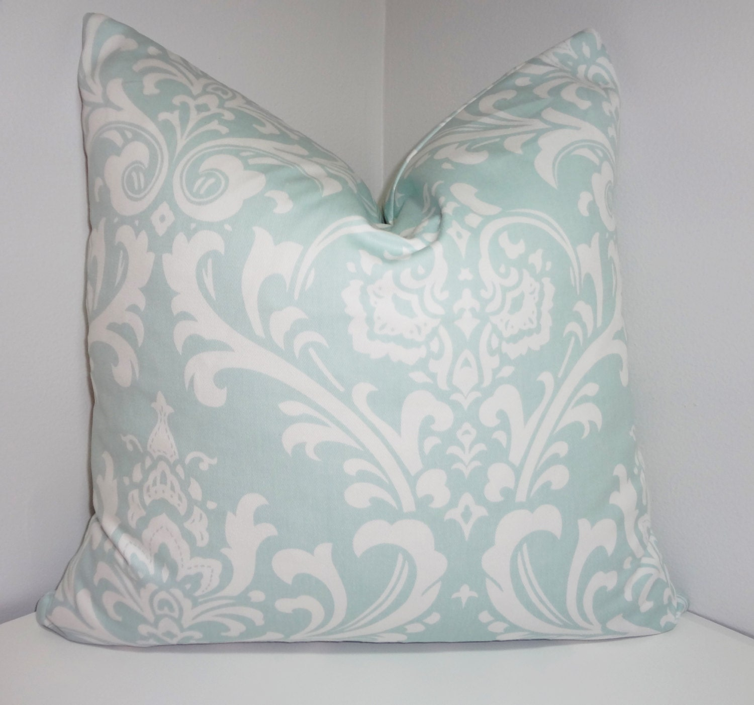 Pale Blue Damask Pillow Cover Decorative Throw Pillow Powder