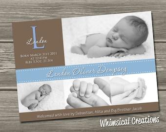 Monogram Baby Boy Birth Announcement (Digital File) Landon - I Design, You Print