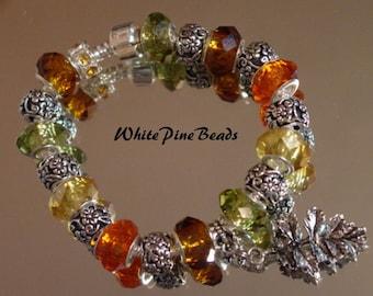 Faceted Glass Beads European Charm Bracelet Classic Handmade  Murano Glass Bead by WhitePineBeads