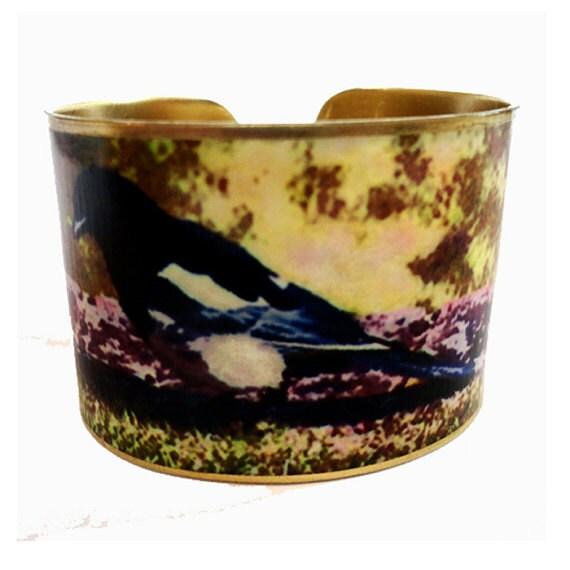 Bird Cuff Bracelet Magpie Vintage Style Adjustable Brass