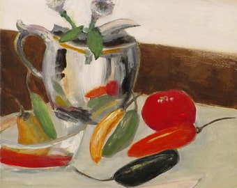 Rain on the Weekend. Original still life painting by the artist. Peppers flowers silver vase knife kitchen cooking