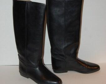 Vintage Black Leather Italian Tall Boots