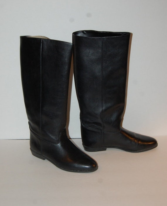 vintage black leather italian boots