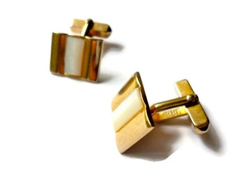 Vintage Cuff Links Mother of Pearl Swank Gold Toned 1960s Groom