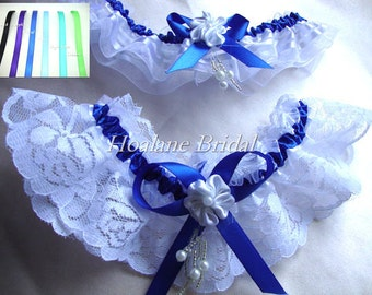 Lace garter, Royal Blue Ribbon/ lace/organza garter set, Bridal garter set