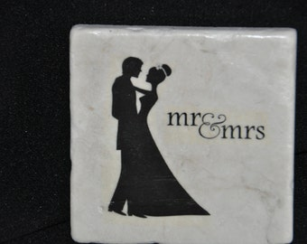 Mr. and Mrs. Coasters Set of 4 handcrafted