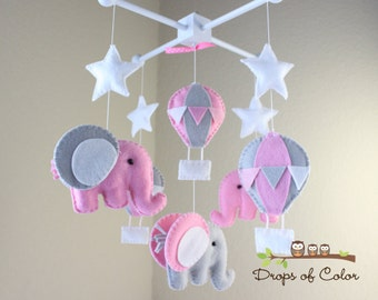 """Baby Mobile - Baby Crib Mobile - Pink Hot Air Balloons and Elephants Mobile """"Up in the Air"""" (You Can Pick your Colors and Animals)"""