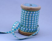 Woven Ribbon light blue with white dots, 1 cm width, 2 Meters (2.18 yard)